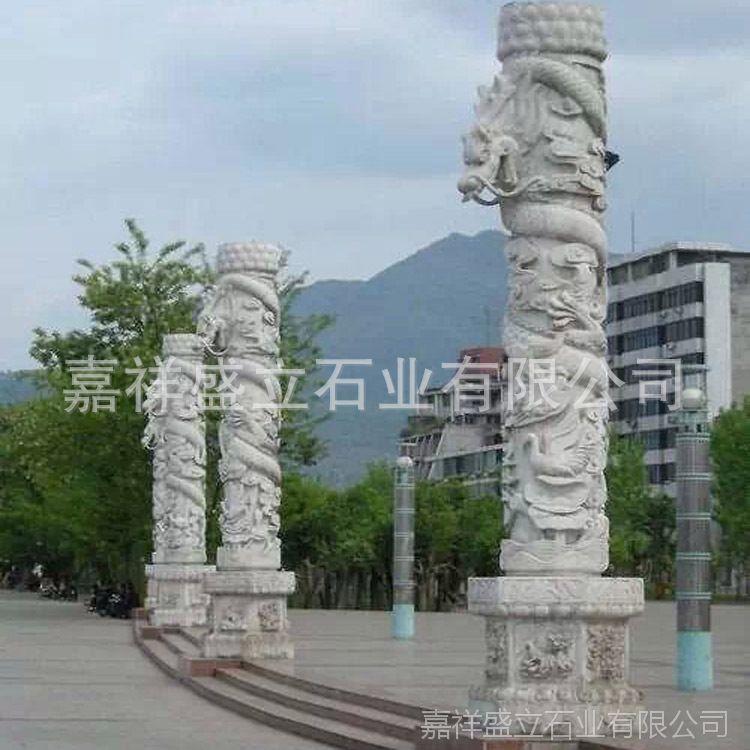 厂家定做广场石头柱子 大理石雕刻盘龙柱 厂家直销