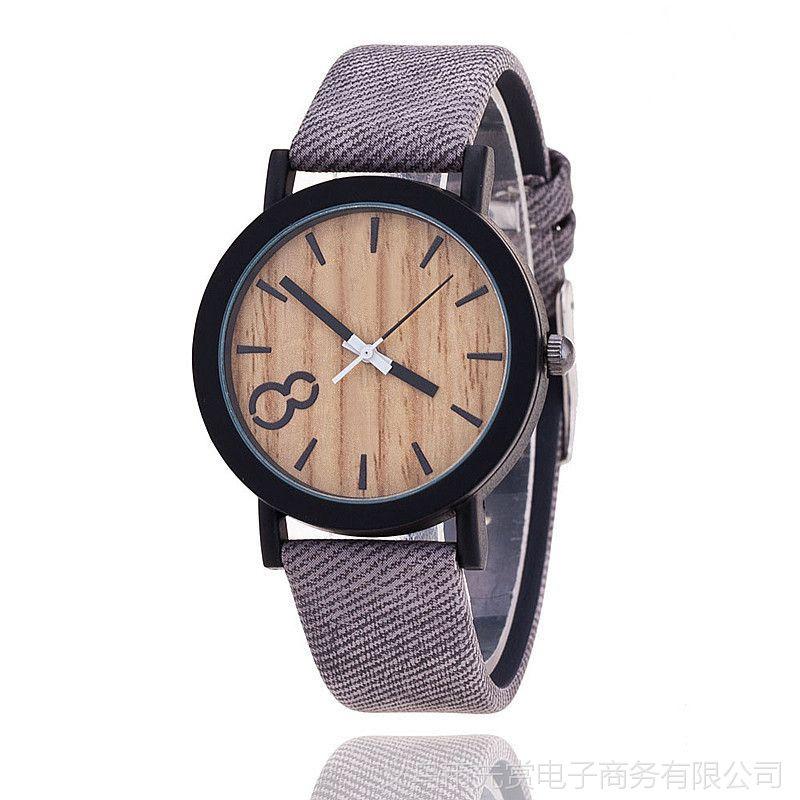 速卖通新款 原木纹PU皮质中性表 韩版男女款复古大数字手表