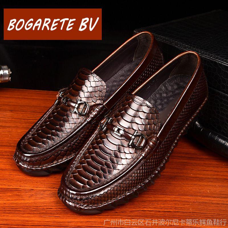 皮鞋男新款时尚男士懒人鞋休闲豆豆鞋男鳄鱼纹一脚蹬皮鞋一件代发