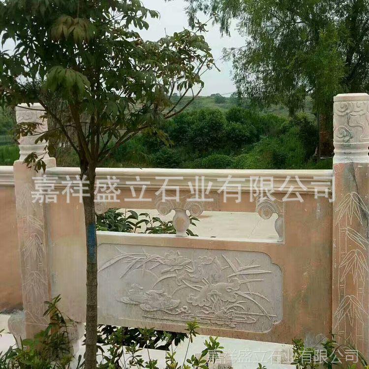 厂家直销浮雕晚霞红护栏  护城河围栏 园林景观雕塑 石雕栏杆