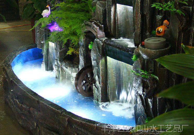 大型假山流水喷泉鱼池 瀑布盆景 客厅装饰摆件开业 结婚礼物包邮图片