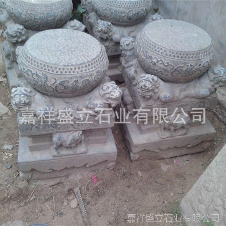 供应大理石仿古做旧石头柱础 寺庙古建柱顶石价格