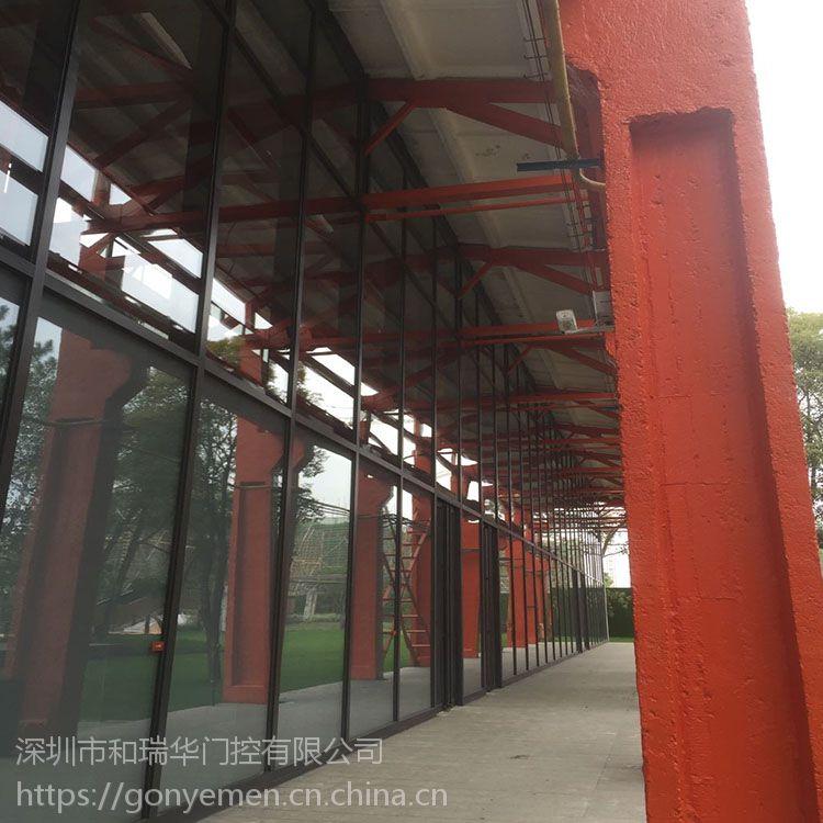 专业加工定制玻璃门地弹簧推拉门不锈钢钛金玻璃门包边玻璃门