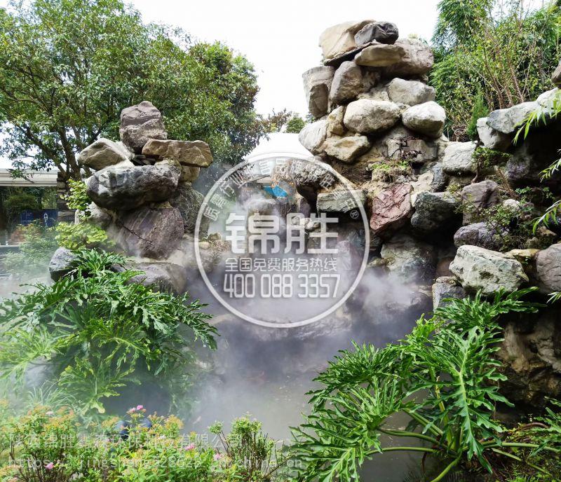陕西西安人造雾降温造景厂家景区庭院山庄户外广场喷雾降温造景系统设备安装