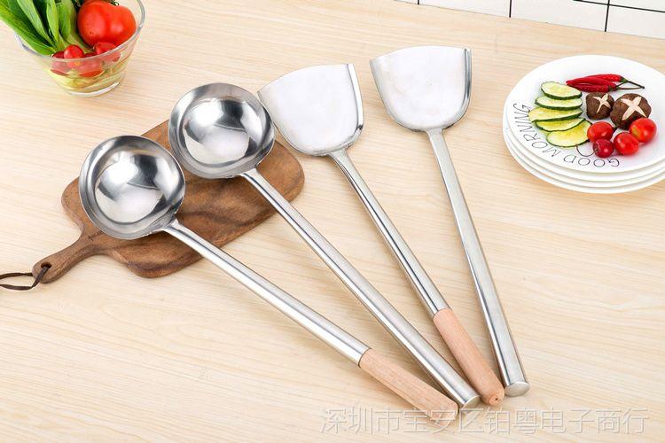 加厚家用无磁不锈钢厨师视频马勺炒勺长柄操作厨师叉车炒菜图片