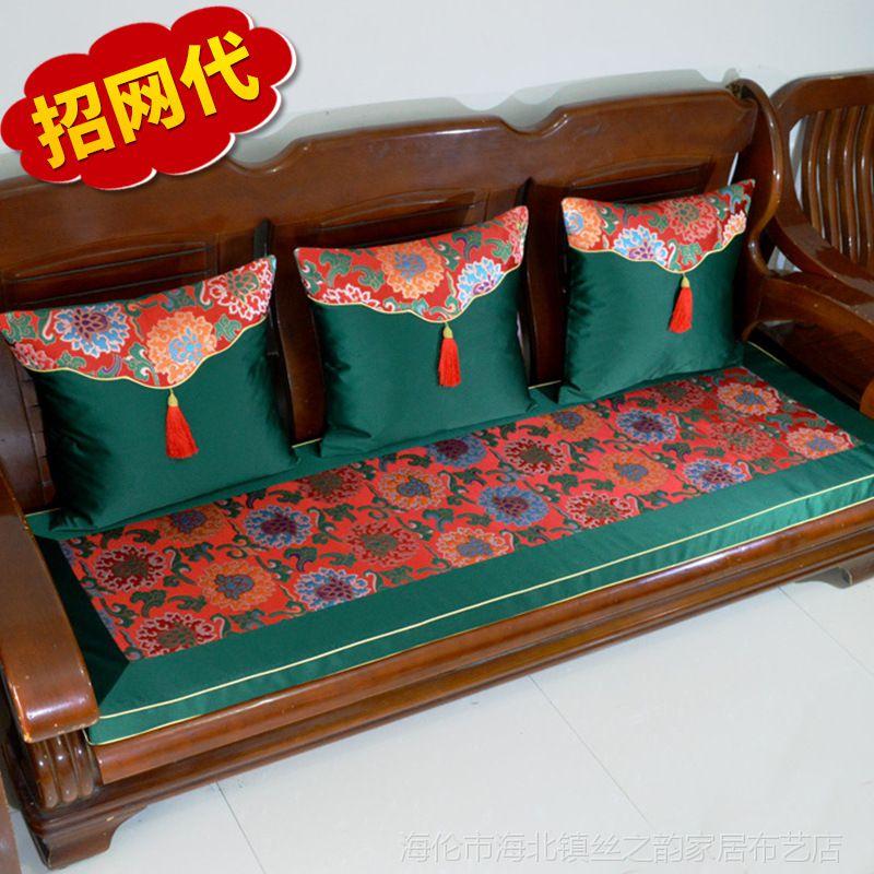 红木沙发坐垫 汽车坐垫厂家 中式家居一件代发 木沙发绸缎垫定制