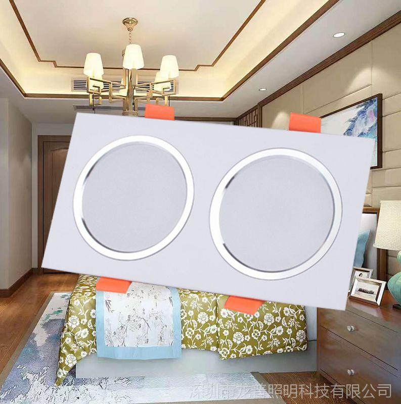 LED双头格栅筒灯10*20 单头方形筒灯10*10嵌入式超薄铝材拉丝金