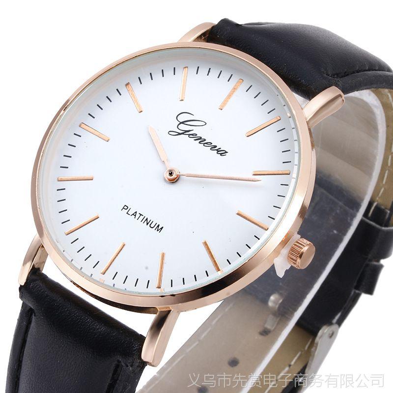 日内瓦爆款超薄皮带手表 两针男士手表 女士时尚休闲学生表石英表