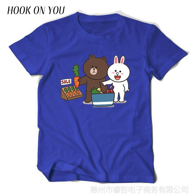 新款印花小熊和兔子男士短袖纯棉圆领套头卫衣潮