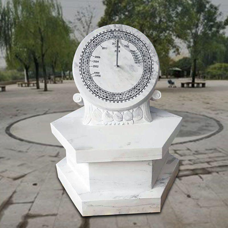 石雕日晷汉白玉古代计时器太阳表赤道式圭表华表石头表指南针雕塑摆件曲阳万洋雕刻厂家定做