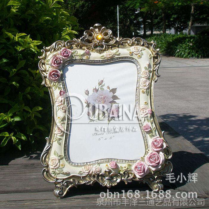 8寸复古做旧金边相框创意奢华立体玫瑰花田园相架酒吧台摆件装饰