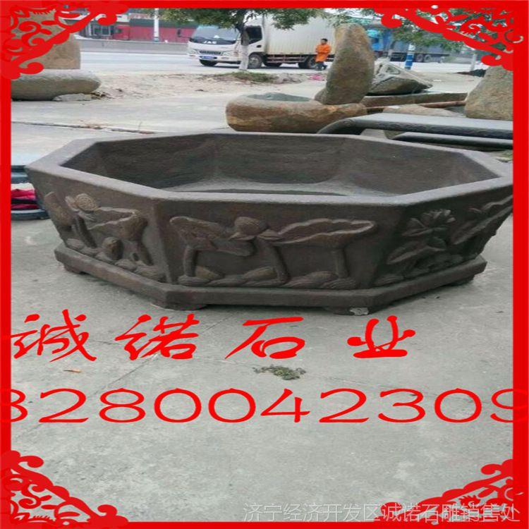天青石仿古石雕养鱼缸 庭院装饰石缸  汉白玉花缸 厂家直销价格