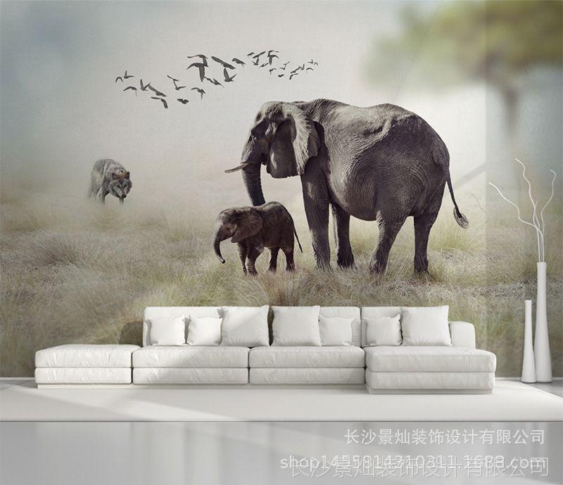 3D图纸视觉唯美自然风景大型无缝壁画动物世立体建筑怎么算1长度50比图片