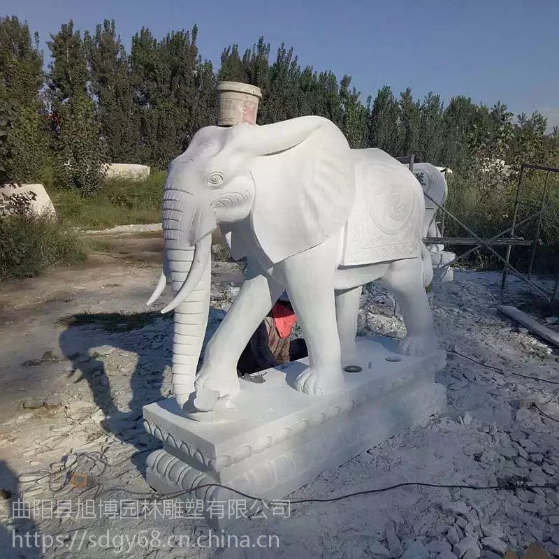 石雕大象晚霞红石头象汉白玉大象门口招财石雕动物摆件