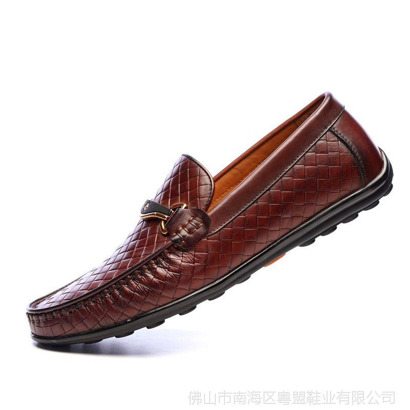 新款头层牛皮休闲套脚豆豆鞋透气格子纹牛皮内里牛皮鞋垫驾车鞋