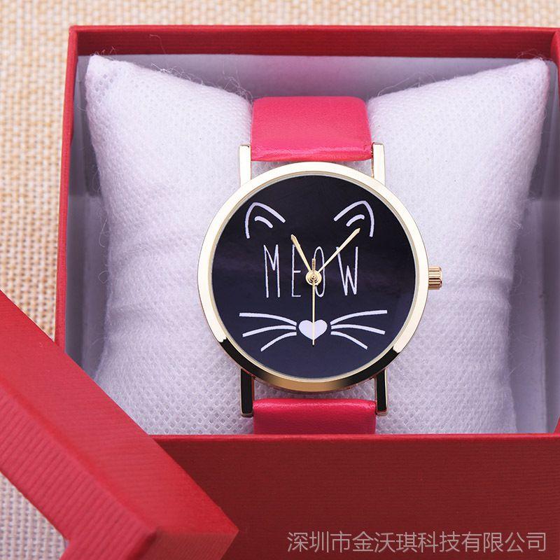 新款时尚猫咪胡子字面 时尚学生手表 可爱造型男孩女孩卡通表