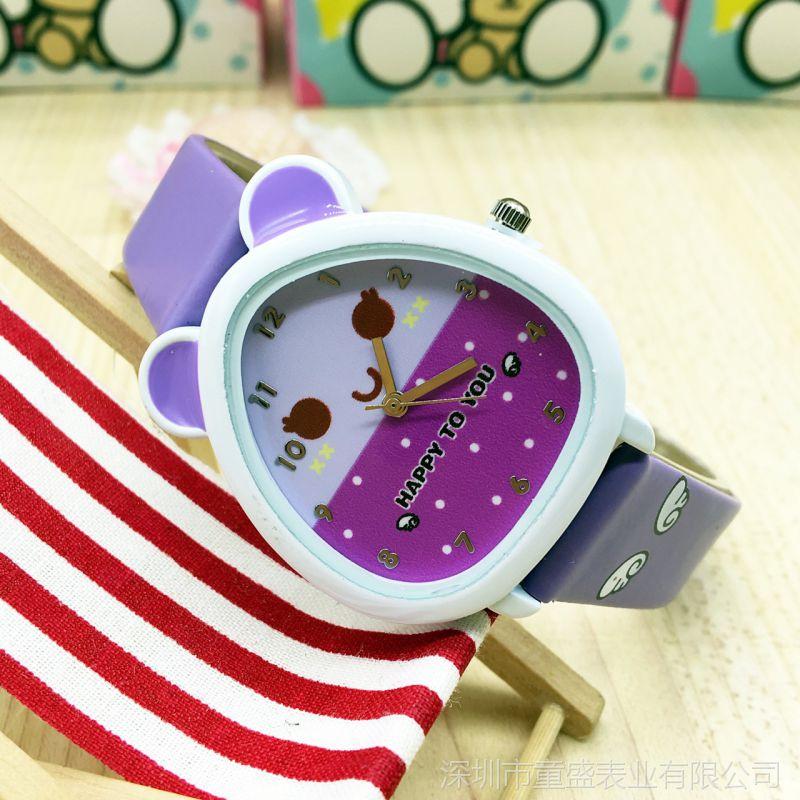 卡通可爱儿童手表 韩版皮革女孩石英手表
