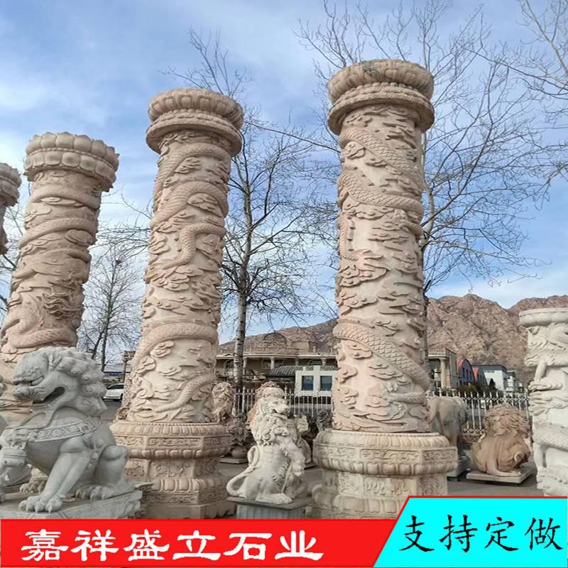 厂家定做大型石雕柱子 寺庙大殿青石龙柱 华表雕龙石柱