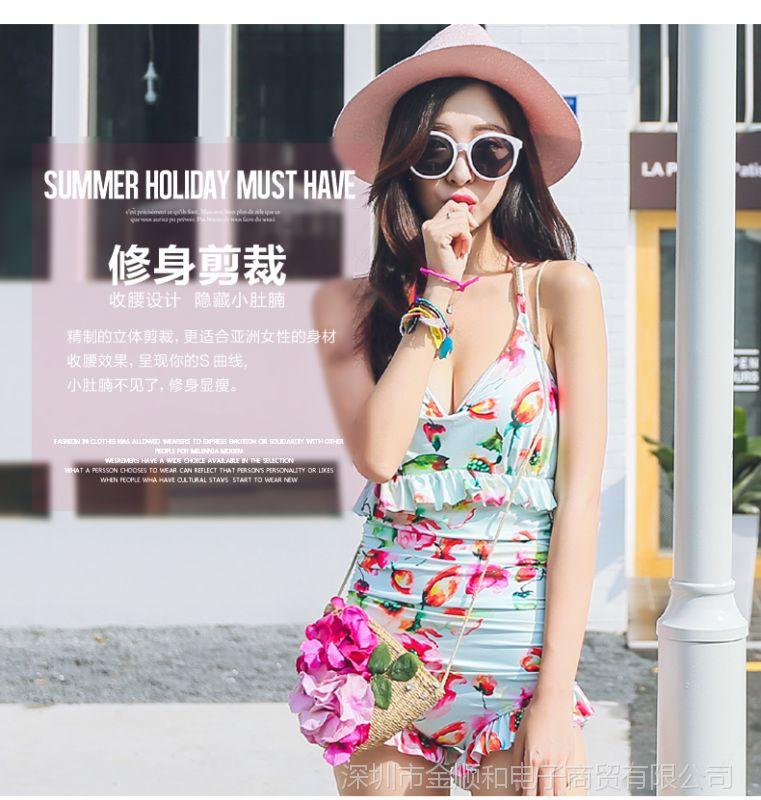 JSH韩国聚拢钢托性感女连体遮肚大胸小胸泳衣的女精灵性感赛尔号图片