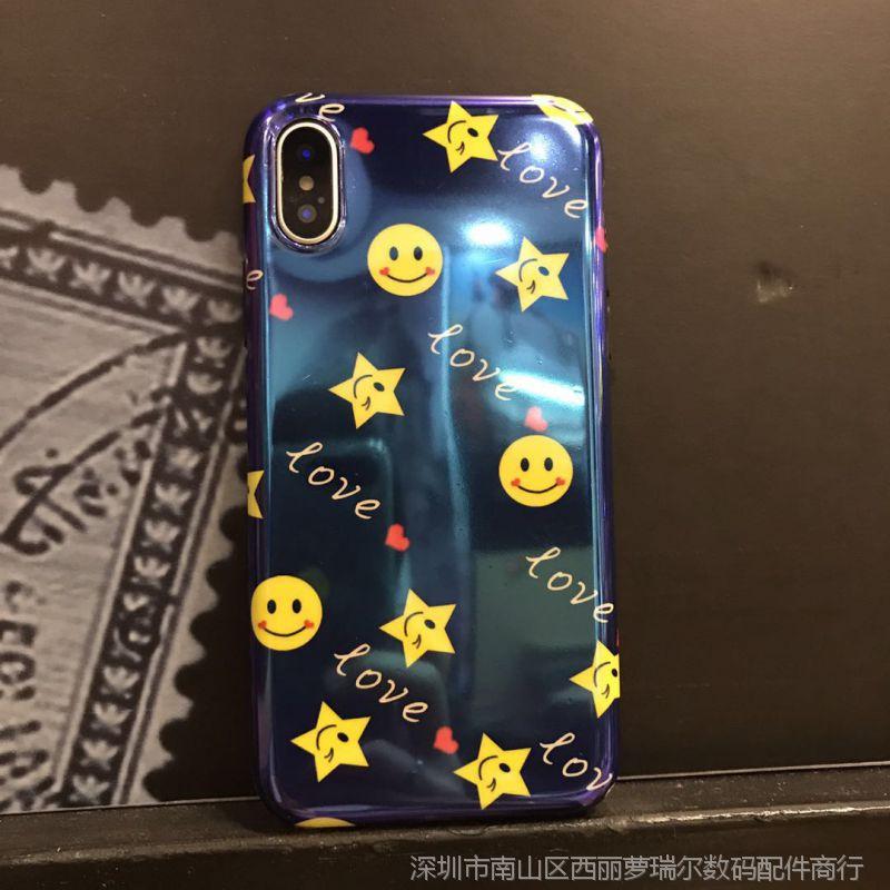 【新款苹果笑脸iPhoneX手机壳表情8plus蓝呀呀来造作动态表情包,图片