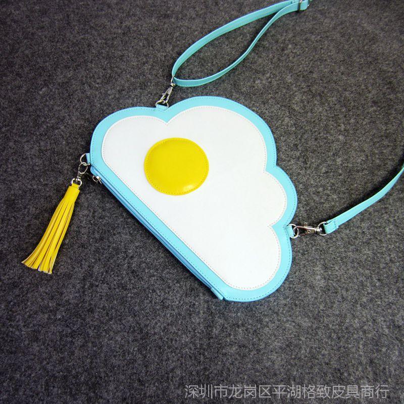 【荷包蛋手拿斜素描表情云朵包原宿颜挎包流苏文字搞笑图片图片