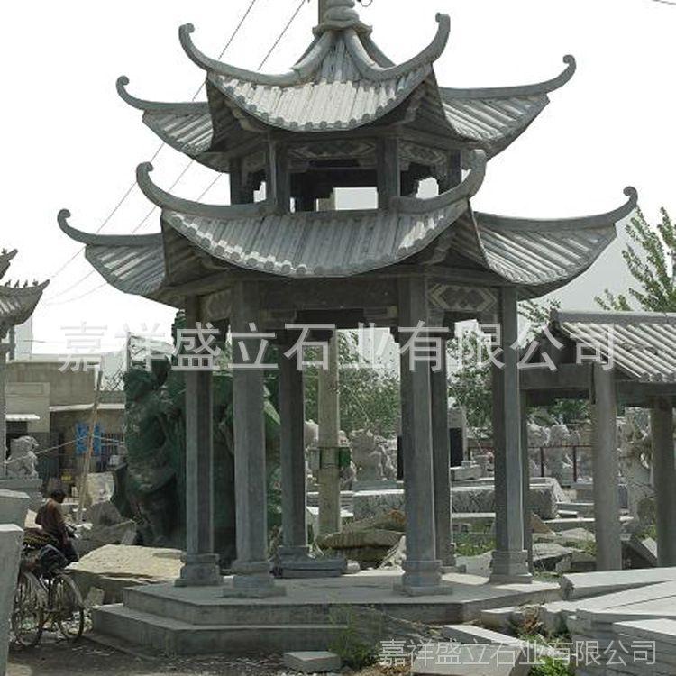 专业制作大理石六角石亭子 公园庭院双层景观石雕凉亭