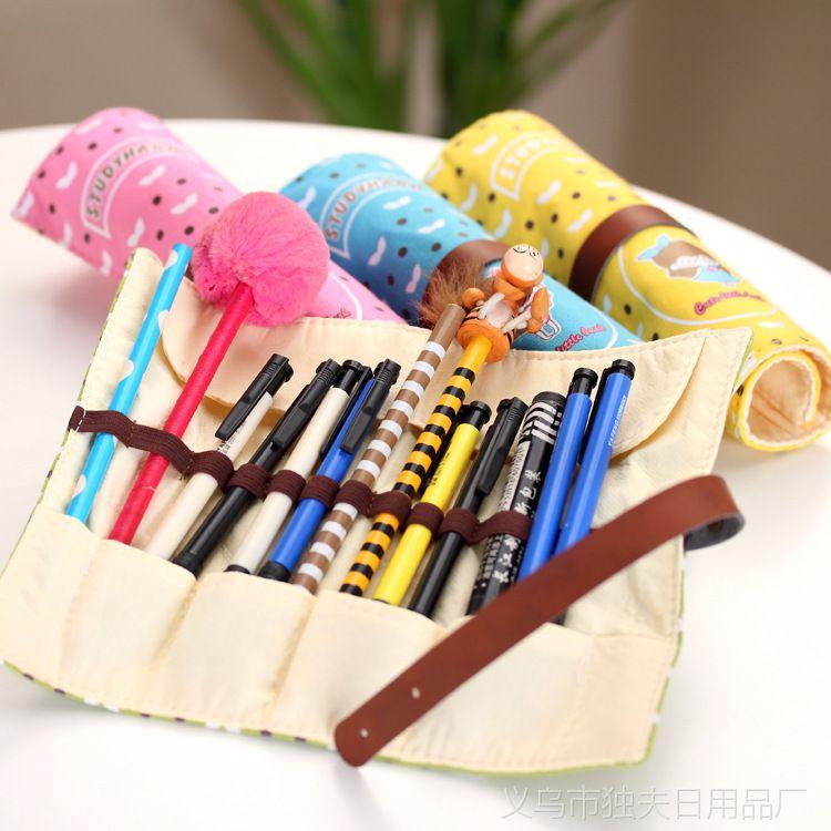 韩版 创意文具笔袋 眼镜女孩卷卷笔袋 文具袋