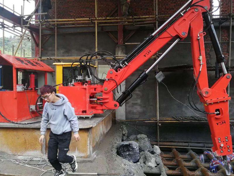 矿山业格筛大块二次破碎用固定式液压碎石机械工作臂