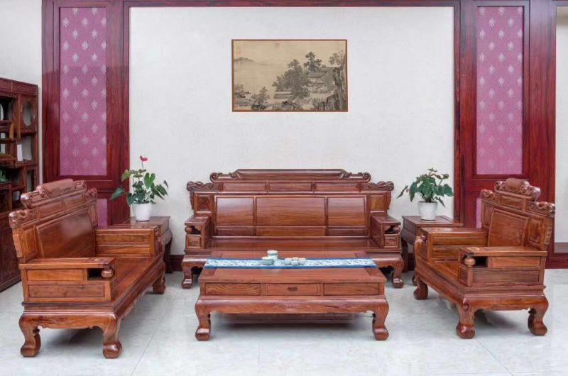 石家庄客厅红木刺猬紫檀财源滚滚沙发6件套钜惠直销