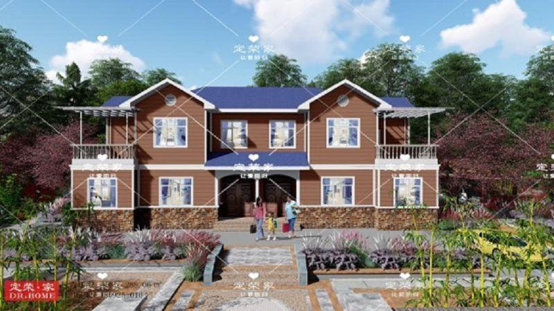 288.06㎡欧式风格二层农村自建别墅,居住空间经济实用