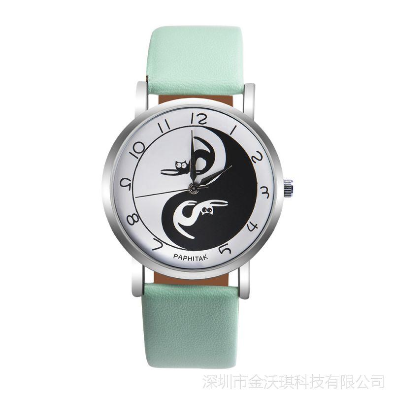 正品时尚百菲达PAPHITAK太极猫手腕表 时尚百搭女款手表