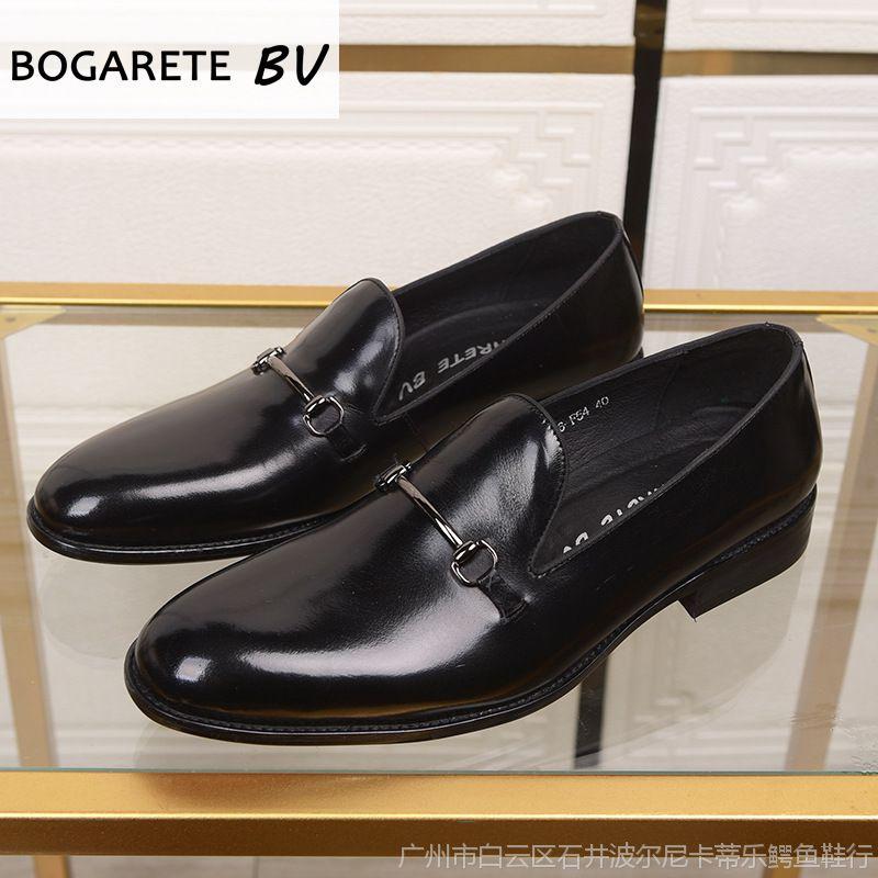 新款商务休闲皮鞋男士尖头真皮潮流英伦正装男鞋厂家直销一件代发
