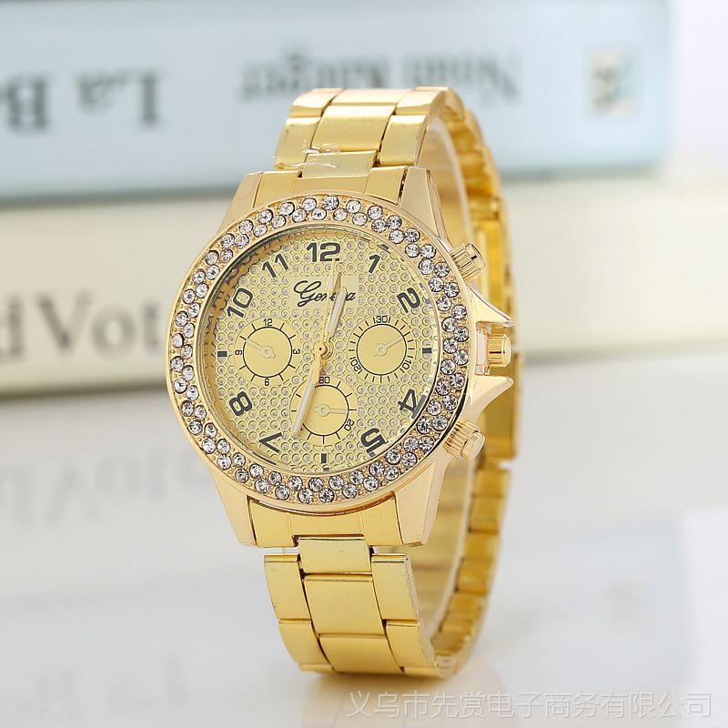 男士钢带手表 日内瓦镶钻商务石英手表 满天星女士手表 批发