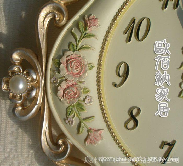 欧式创意田园静音挂钟表新款钟表批发树脂挂钟欧韩时尚精品钟表