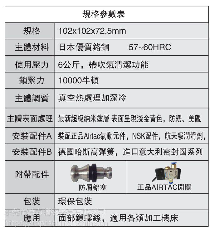 东莞EROWA夹具厂家供应 D100单头气动卡盘 CNC快速定位夹具