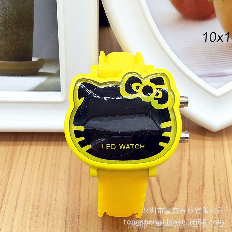 厂家批发创意儿童卡通手表 小学生女孩可爱小猫led电子表 可定制