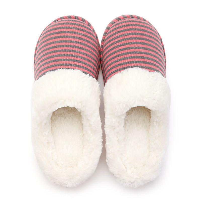 家居棉拖鞋女秋冬 居家室内防滑细条纹情侣保暖针织棉鞋男 PVC鞋底