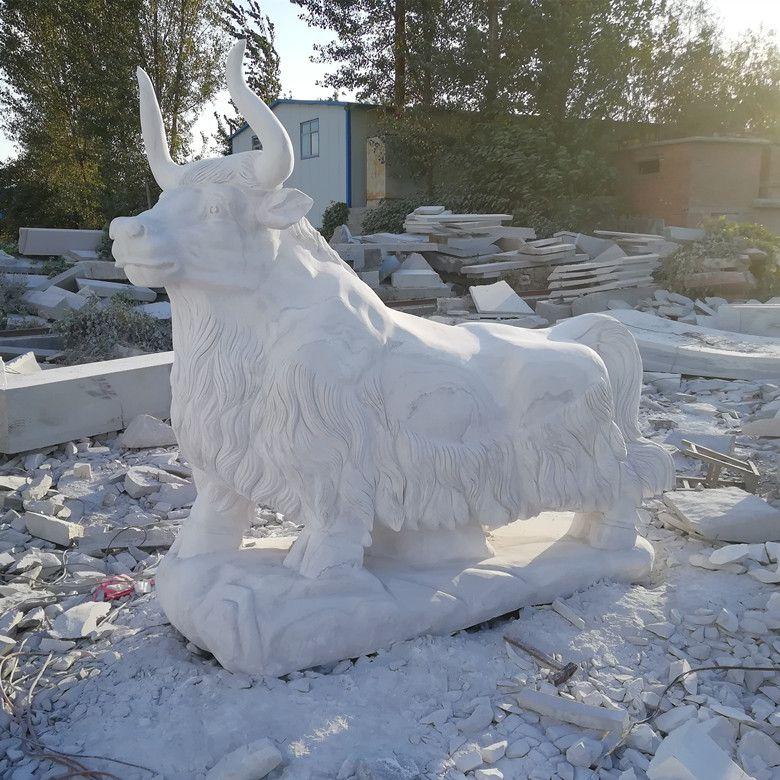 手工雕刻汉白玉石雕牦牛雕塑厂家定做