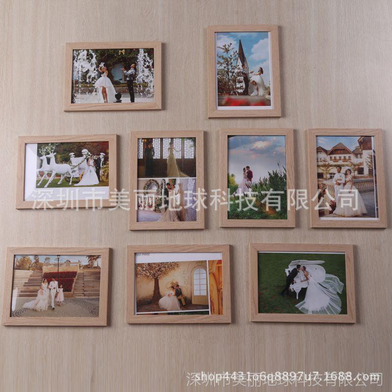 影楼热销款木纹相框挂墙组合客厅九宫格照片墙创意7寸照片墙9个