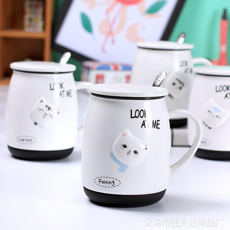 2017年新款卡通哑光浮雕猫咪陶瓷杯 带盖带勺马克杯硅胶底座杯子