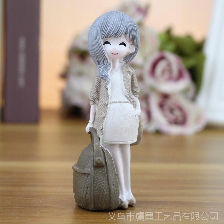 女孩直销创意迷你厂家浣纱树脂女生摆件工艺品小号名思英文图片