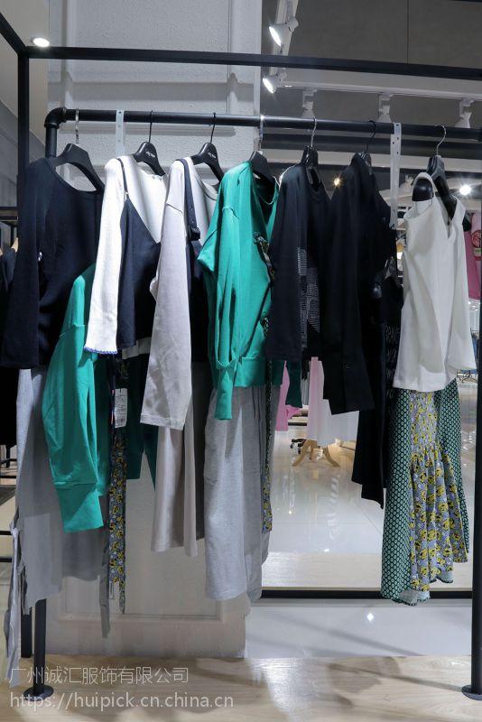 艾安琪2018年品牌女装尾货折扣 一线品牌女装尾货货源深蓝色T恤
