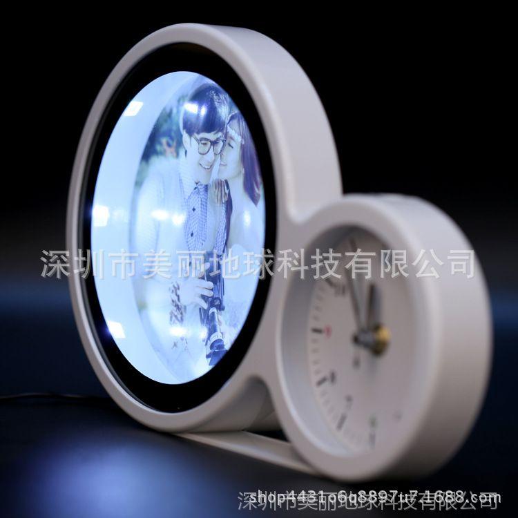 魔镜相框摆台圆镜3d插电USBLED床头台灯影楼个性婚纱照创意化妆镜