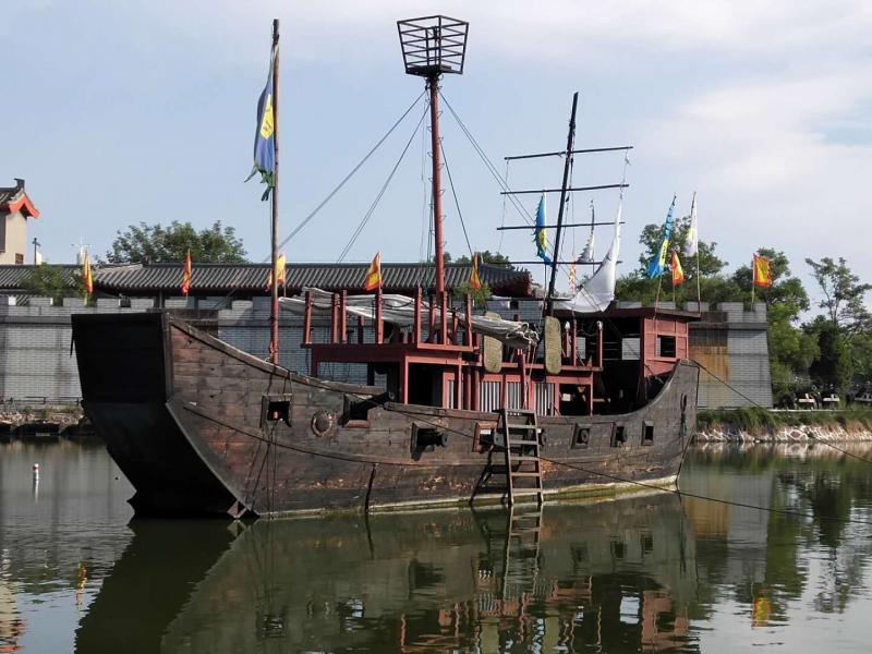 河北省邯郸市风景区打造仿古战船 画舫木船 景观装饰船 木帆船
