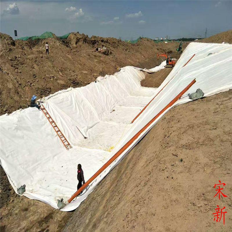 河道水渠防渗土工布施工