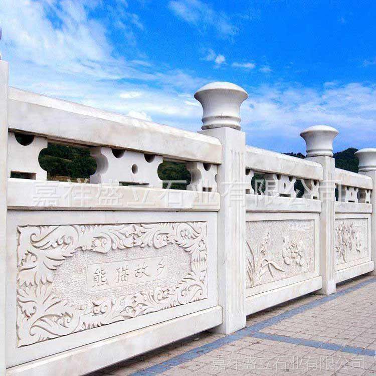 嘉祥石雕栏杆定制厂家 精美雕刻汉白玉别墅栏杆