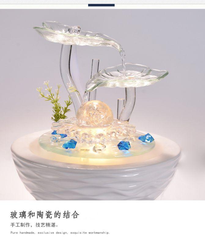 陶瓷流水喷泉招财风水球加湿器家居装饰工艺礼品客厅办公室小摆件