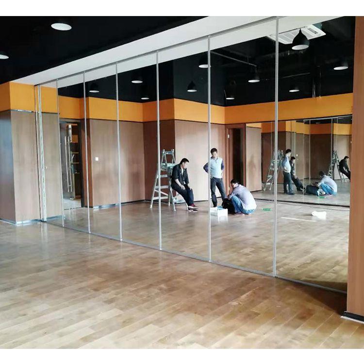瑜伽舞蹈室可移动折叠的镜面屏风隔断墙案例视频