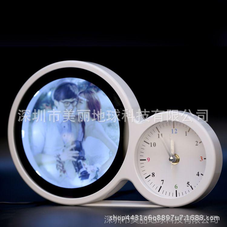 创意魔镜圆形相框10寸摆台3d插电床头台灯影楼时光宝盒个性婚纱照