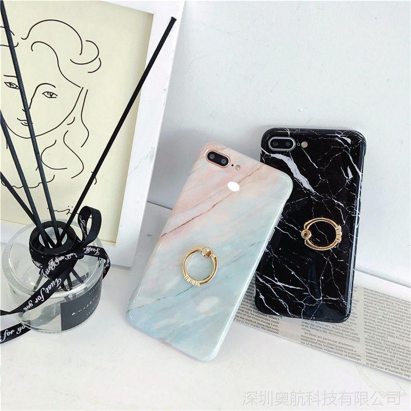Iphone6 6S 7 8 7puls 8puls iphoneX带钻指环大理石手机保护套